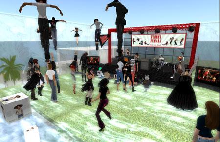 Il pubblico vola intorno al palco al concerto dei FF in Second Life